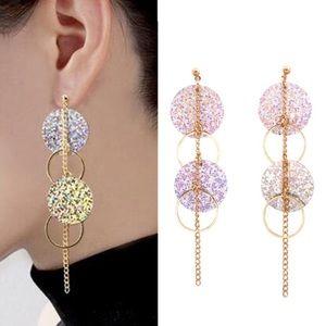NEW Pretty Silver Glitter Gold Statement Earrings